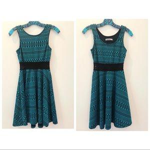Blue and Black Patterned dress
